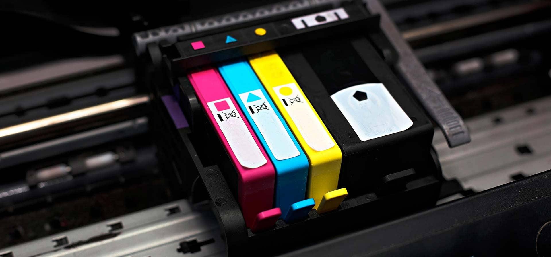 Cartuchos coloridos para impressoras